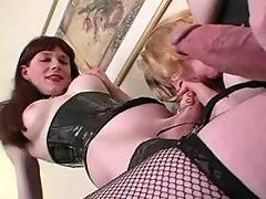 Two TS in sexy outfit in oral fun