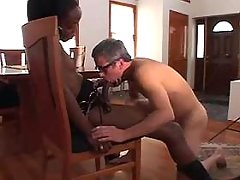 Black shemale gets oral n anal sex