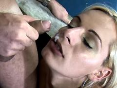 Yummy shemale gets facial