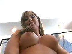 Busty shemale playing w her lovetoy