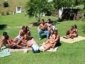 Hot guys and trannies do orgy on lawn