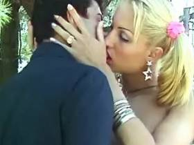 Blond ts slut gives blowjob to hot guy and gets one herself