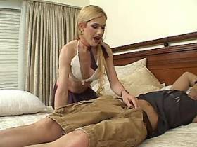 Blonde shemale and bald guy suck cocks each other